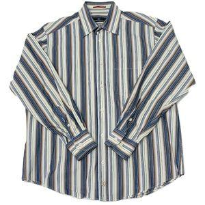 Mens Bugatchi Uomo Dress Shirt size M Striped Blue